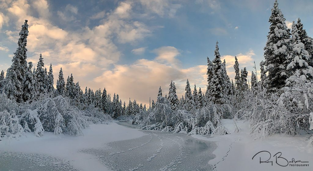 Panoramic image of Eagle River in Chugach State Park, Alaska.